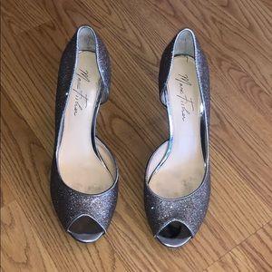 Silver shimmering heels